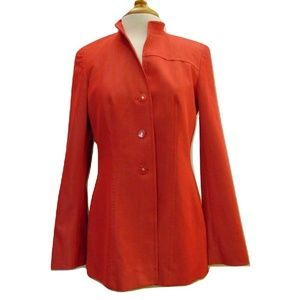 Escada stand up collar jacket red shiny fabric